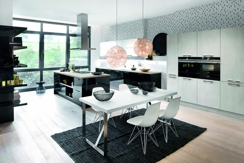 Cristall Black Comet Pearl Grey kitchen
