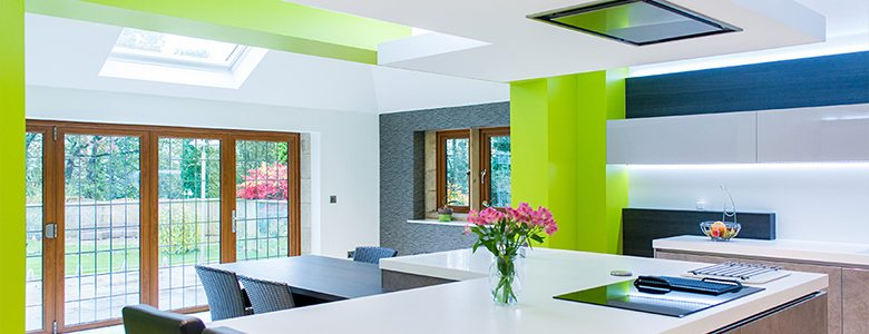 white and green designer kitchen style