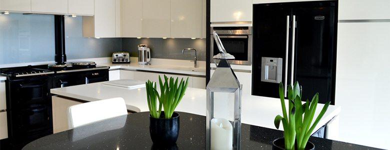 high gloss black kitchen