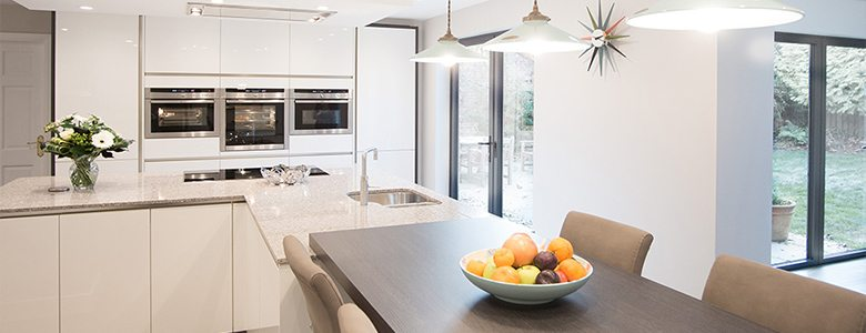light and bright white designer kitchen