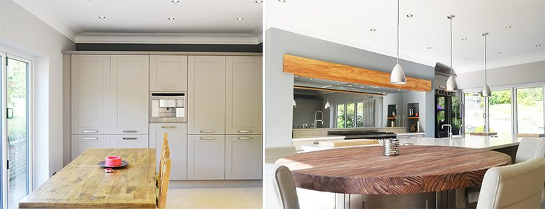 wooden furniture in a modern kitchen