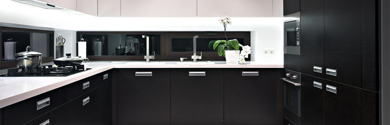 black designer kitchen