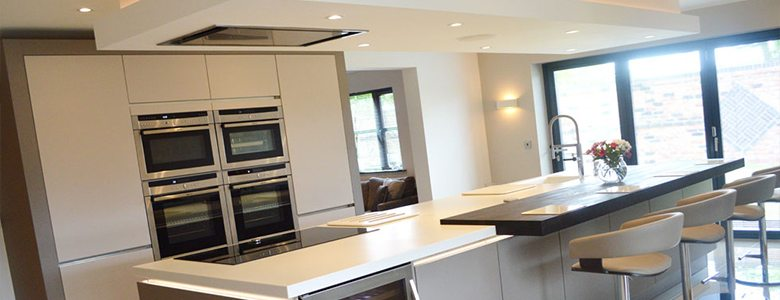 grey designer fitted kitchen