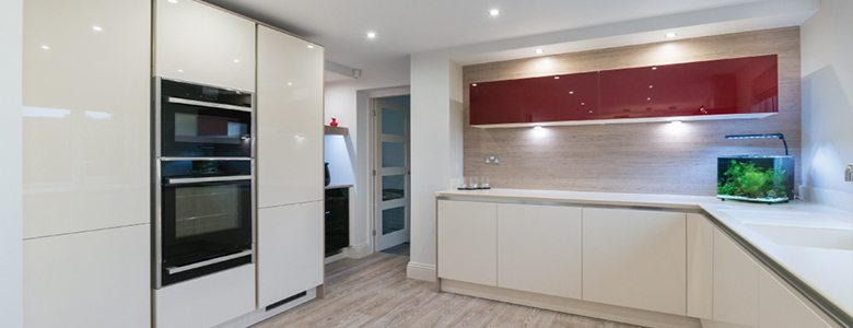 Our top four ways to combine materials in the kitchen red and white gloss