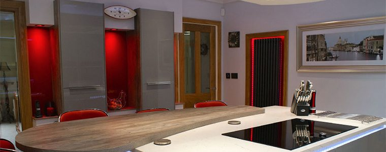Red luxe lighting in kitchen