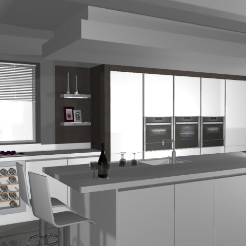 The Contemporary Family Kitchen 3D Computer Model
