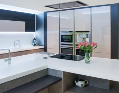 blue grey and green designer kitchen