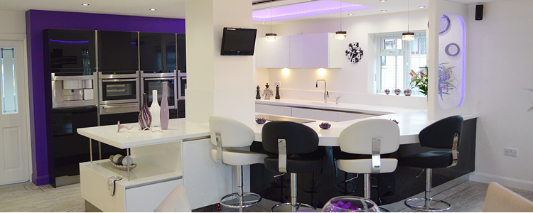 purple and white designer kitchen with bubble wall