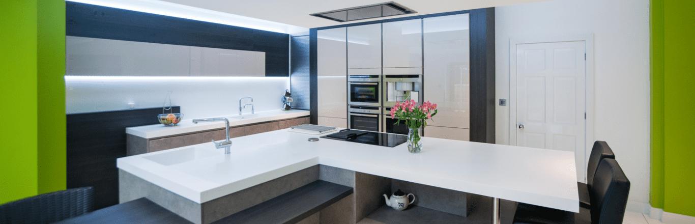 blue and green designer kitchen