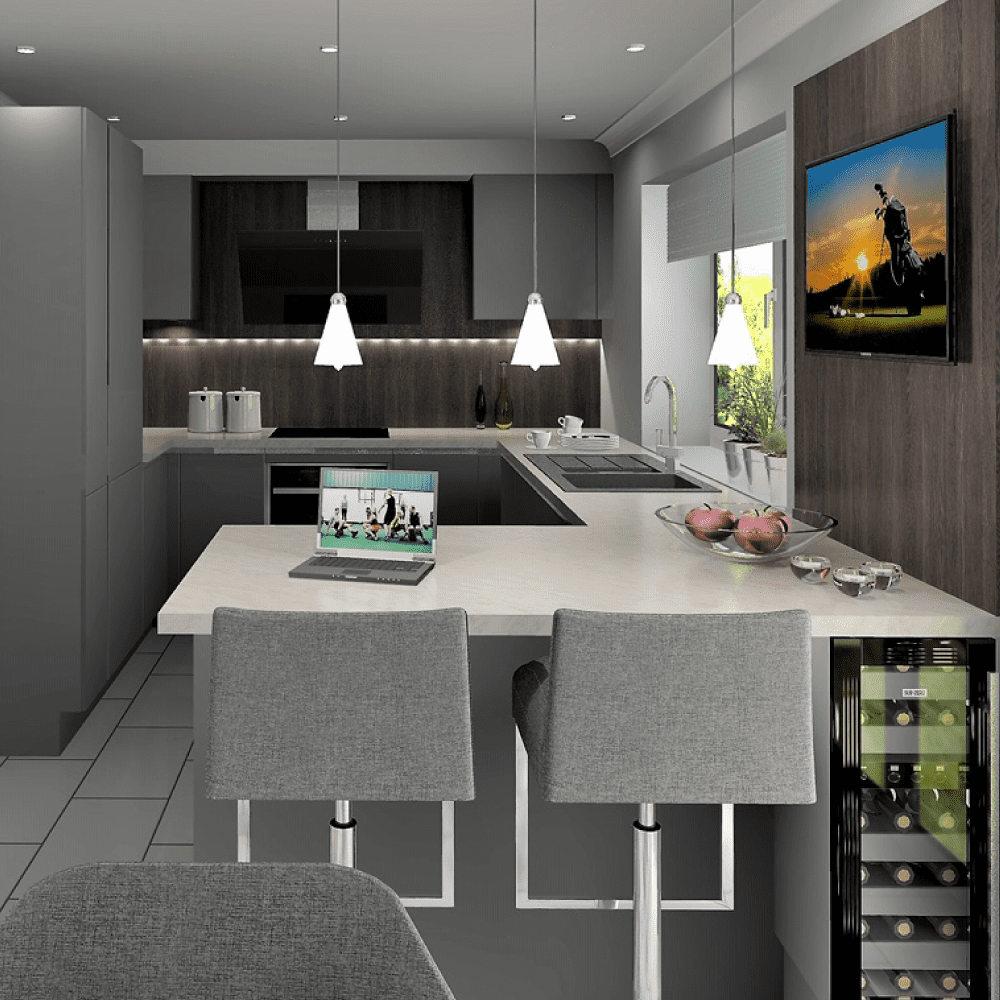 A contemporary cutting-edge kitchen for a DJ